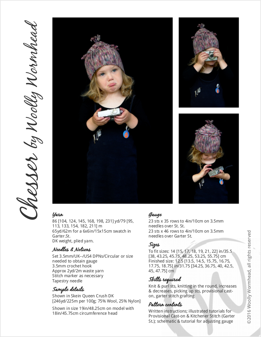 Chesser hand knitting pattern for childs Hat