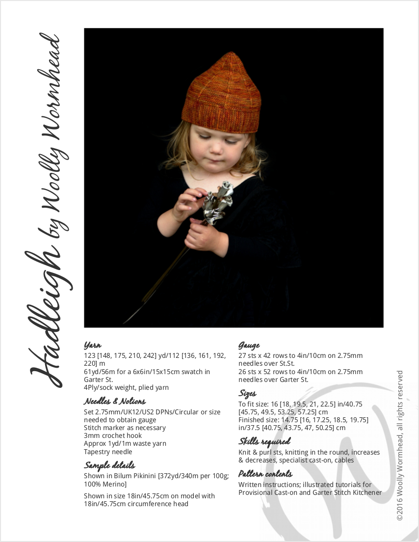 Hadleigh pixie Hat knitting pattern