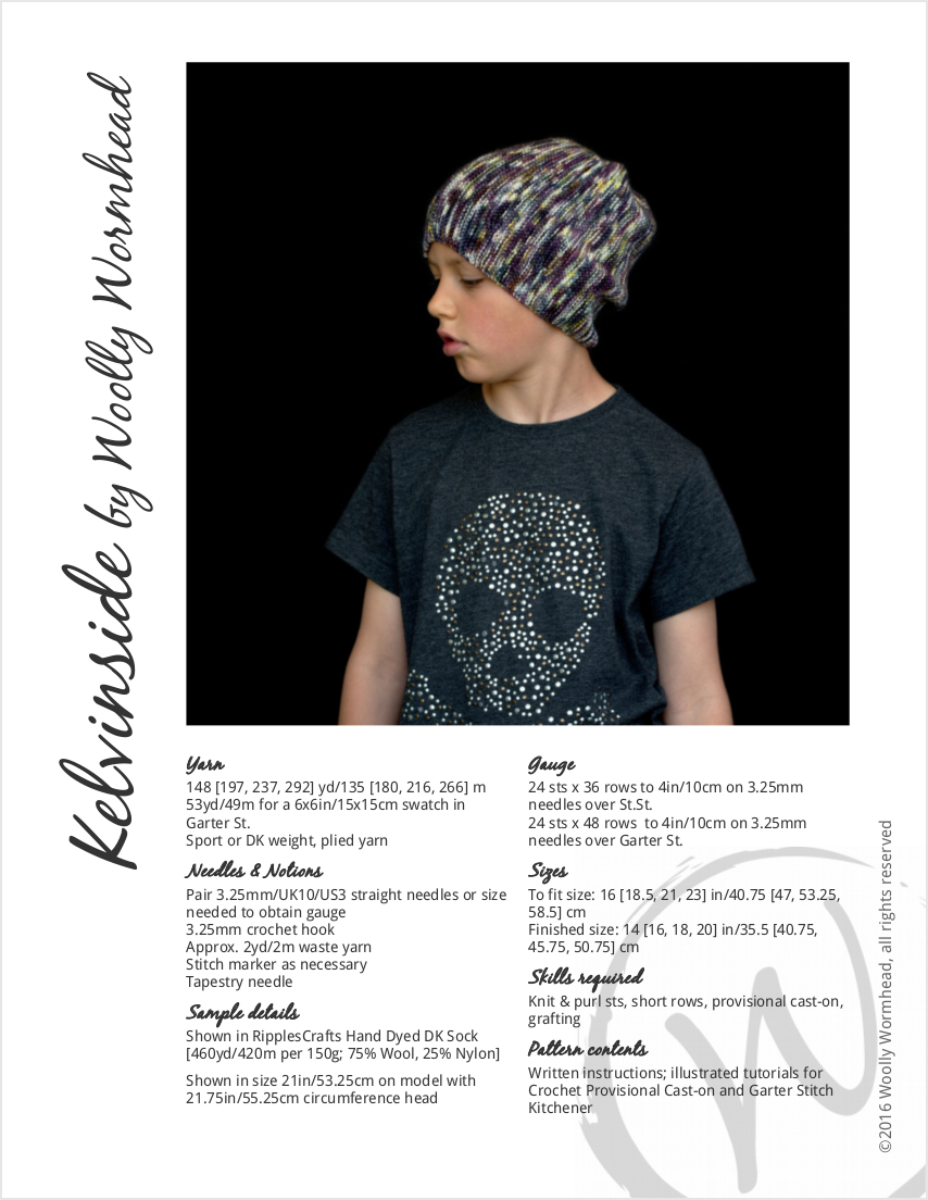 Kelvinside hand knitting pattern for a slouchy Hat