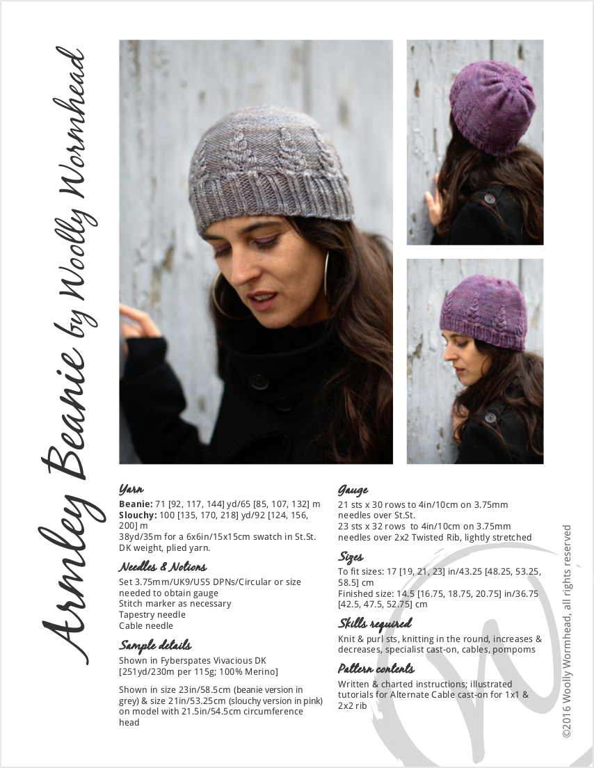 Armley Beanie and Slouchy Hat hand knitting pattern for DK weight yarn