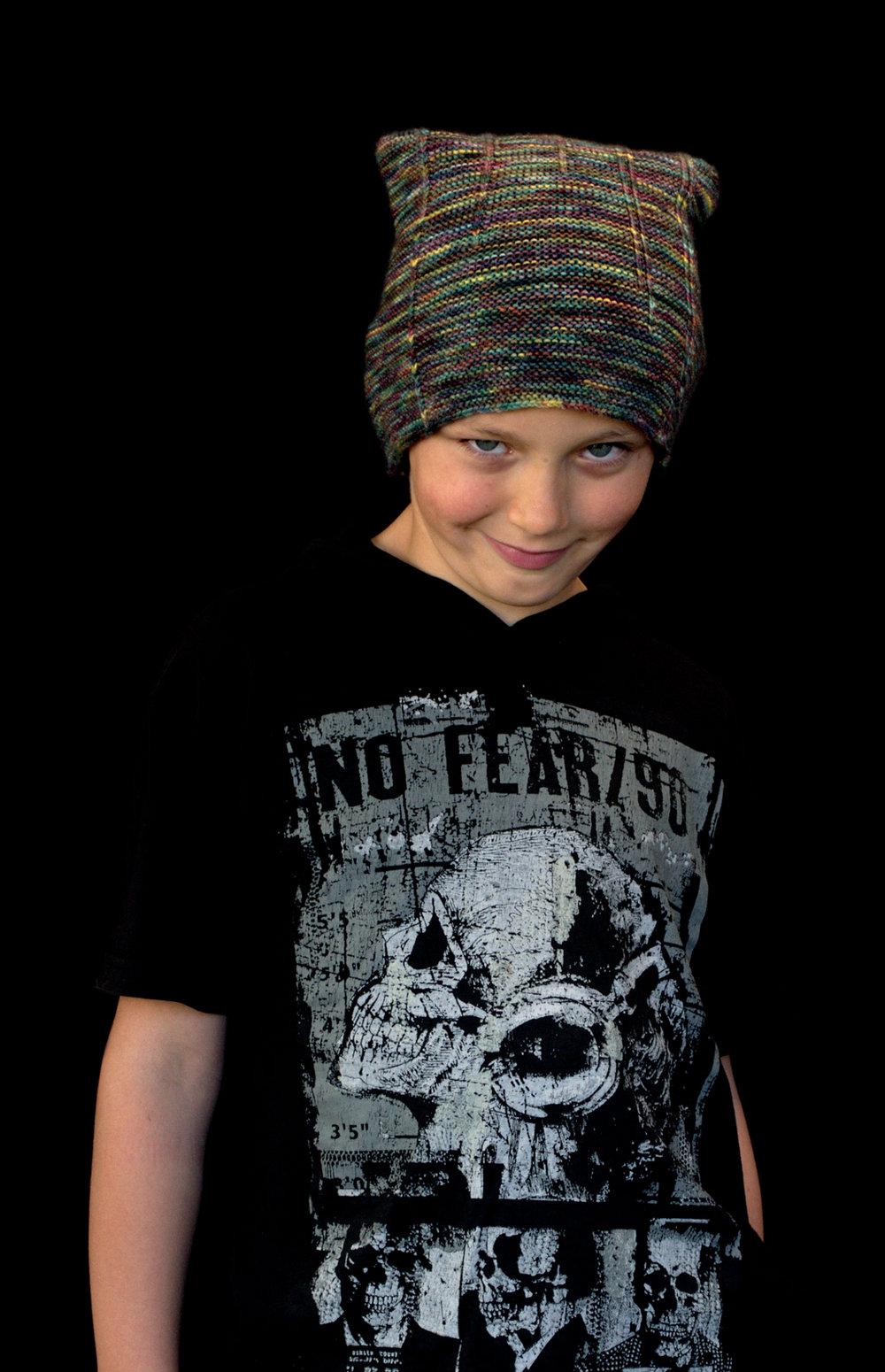Allerton skater style slouchy Hat knitting pattern