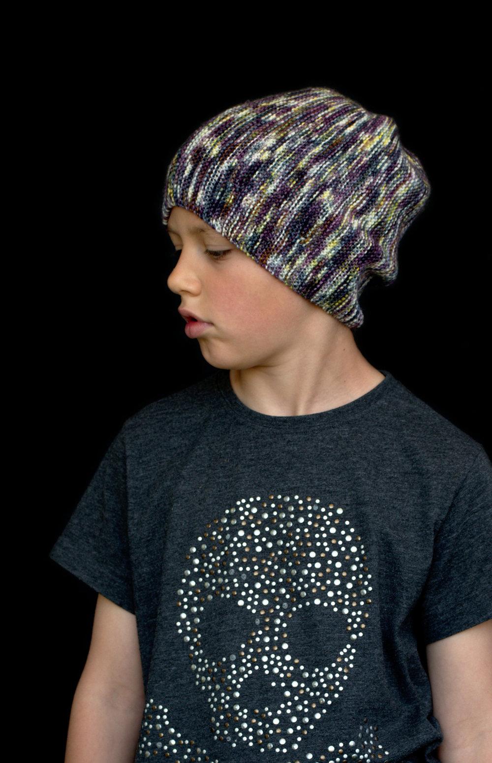 Kelvinside sideways knit skater style slouchy Hat knitting pattern