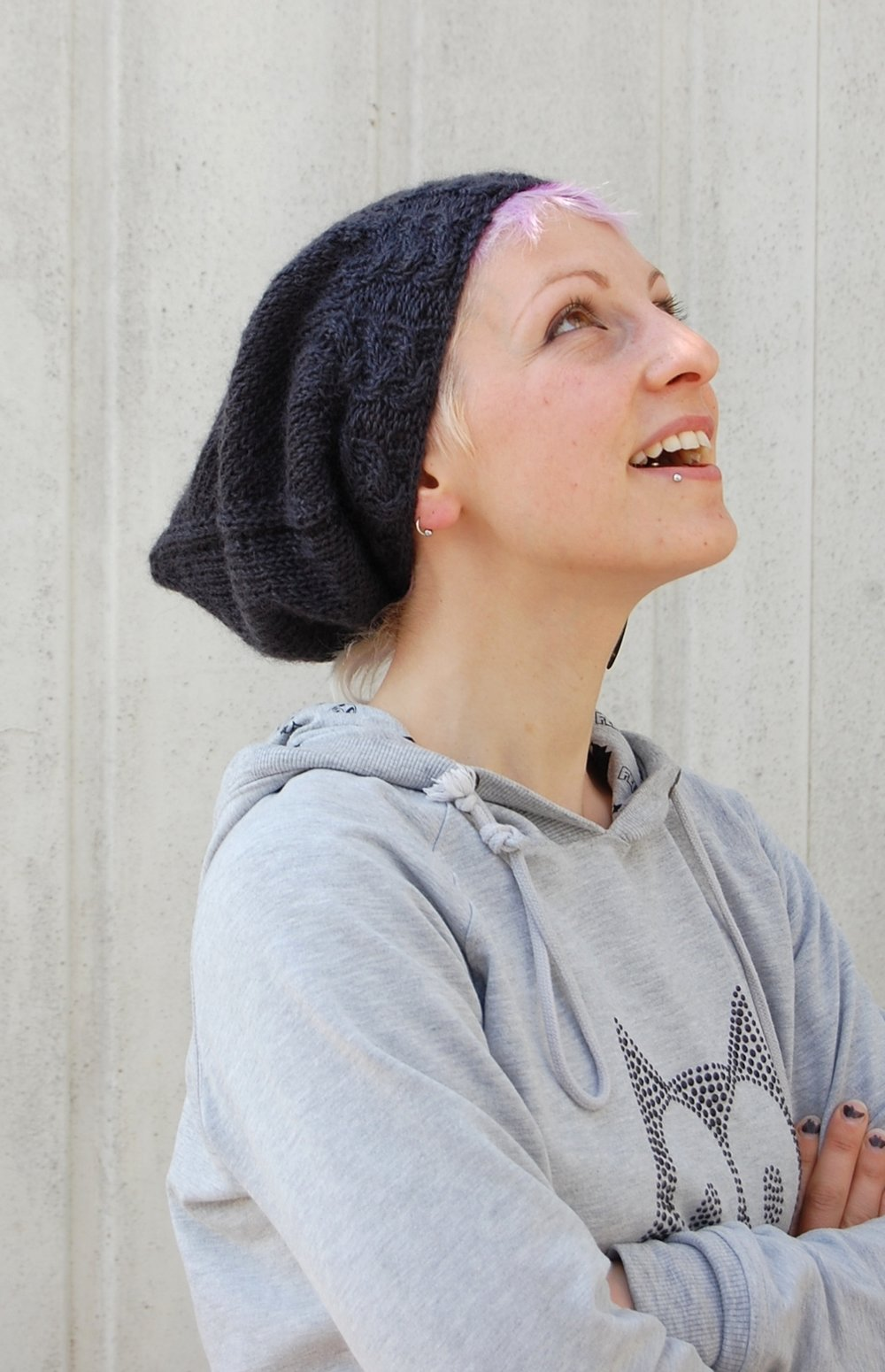 Sloochie slouchy pixie Hat with cabled brim knitting pattern