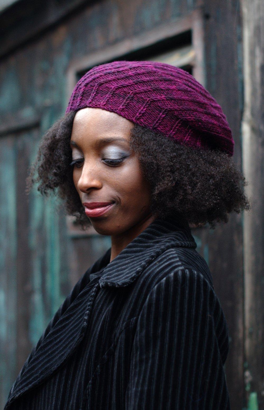 Elsica spiral beret hand knitting pattern