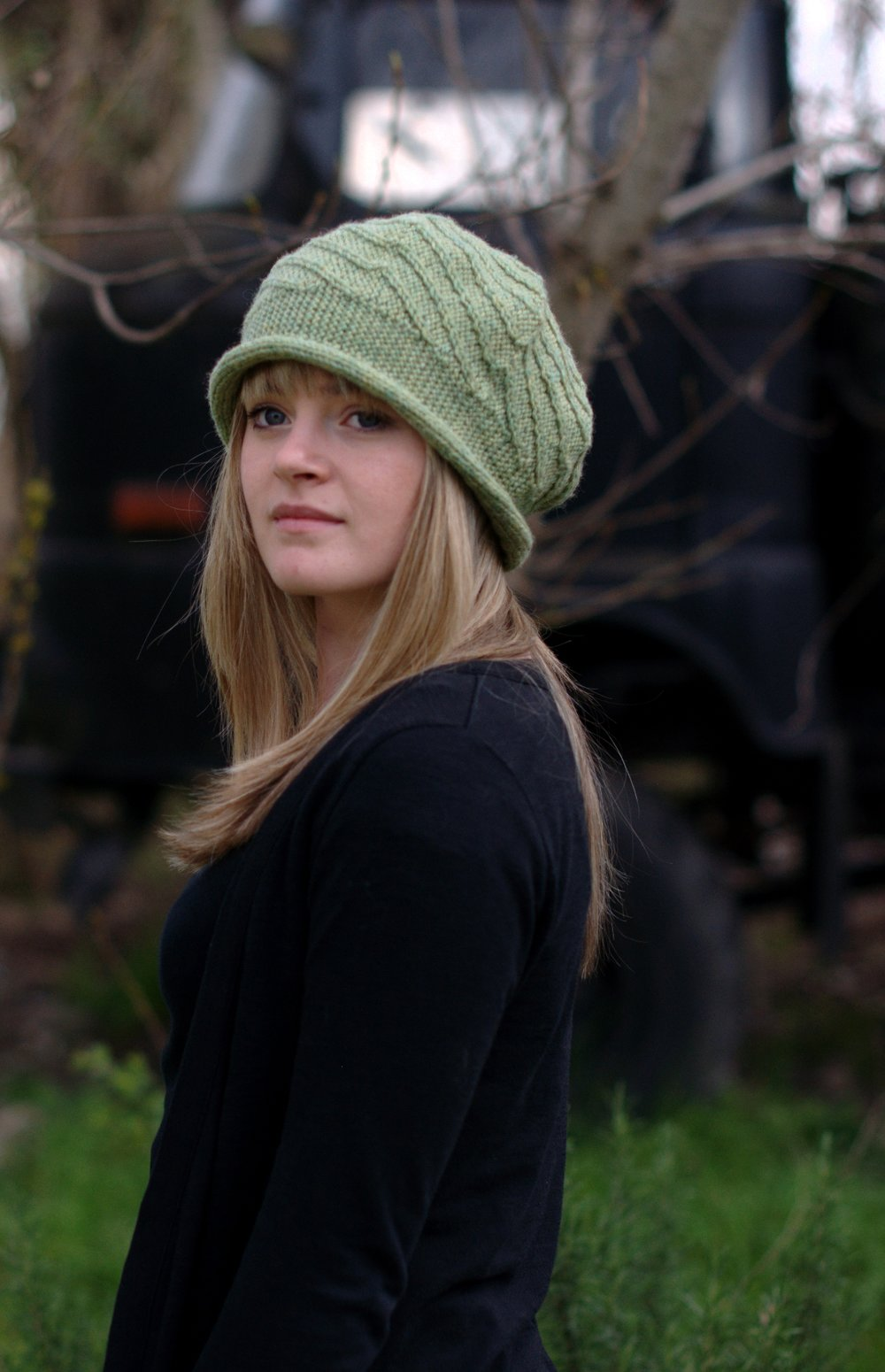 Vlora sideways knit brimmed beret knitting pattern
