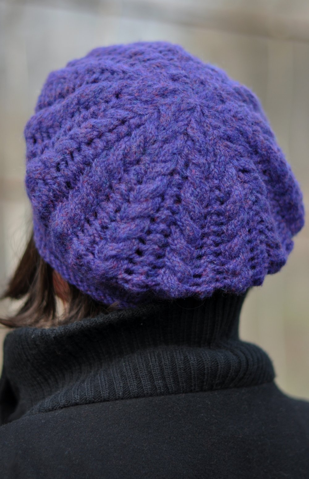 Elourne cable and lace beret knitting pattern