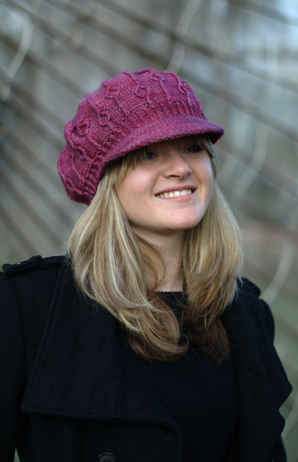 Erica peak brimmed beret hand knitting pattern