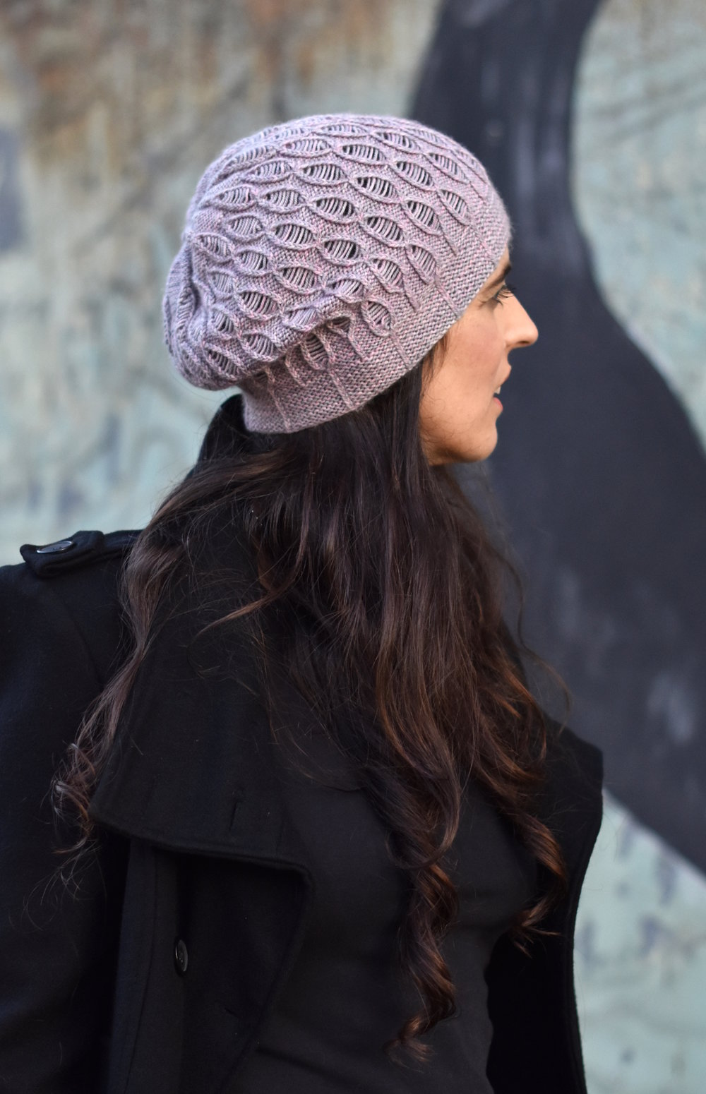Rosalind cable and drop stitch slouchy Hat hand knitting pattern