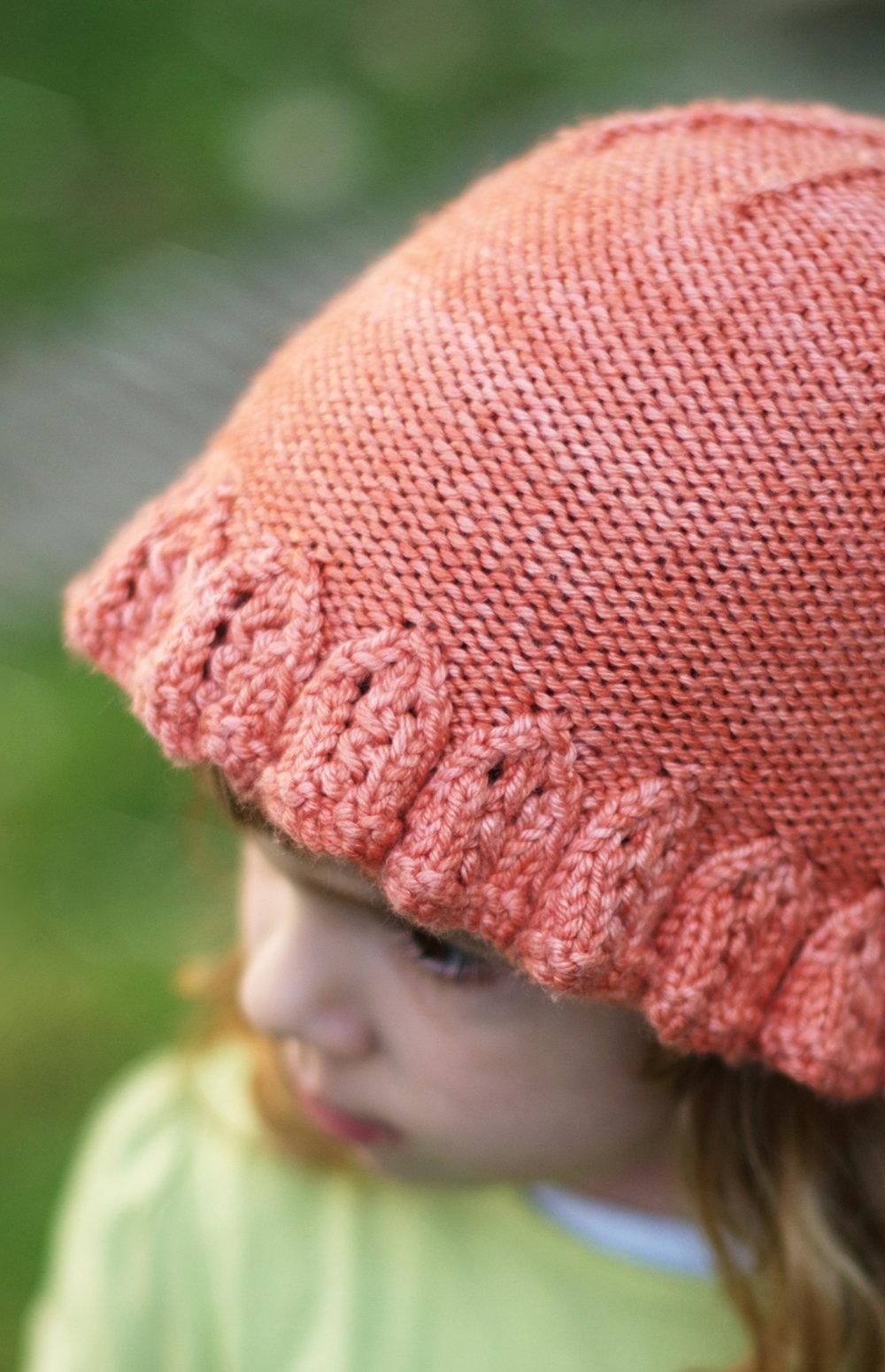 Emilia knit Hat with lace brim knitting pattern