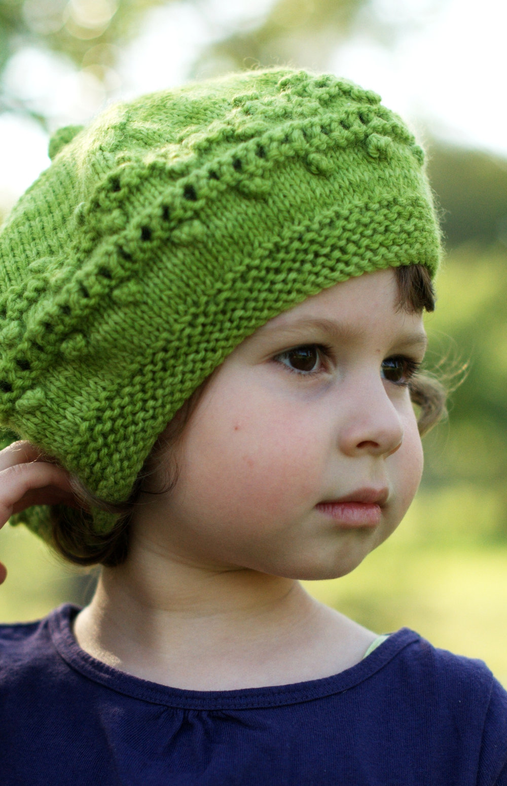 Aurora lace and bobble beret knitting pattern