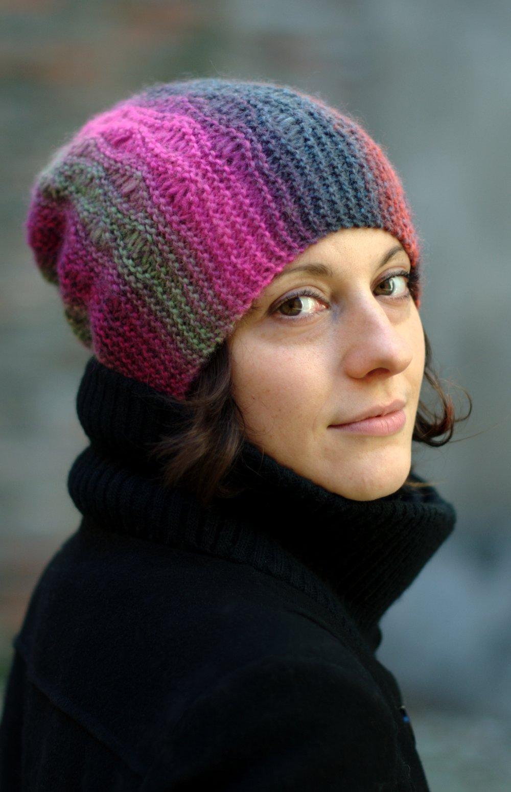 Marina sideways knit dropped stitch slouchy Hat knitting pattern