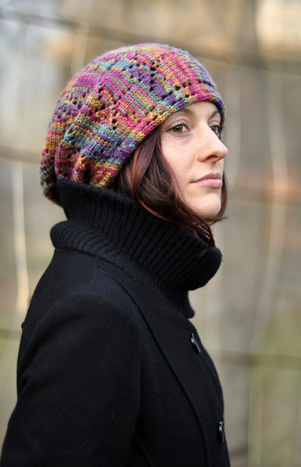 Ziggy sideways knit lace slouchy rasta Hat knitting pattern