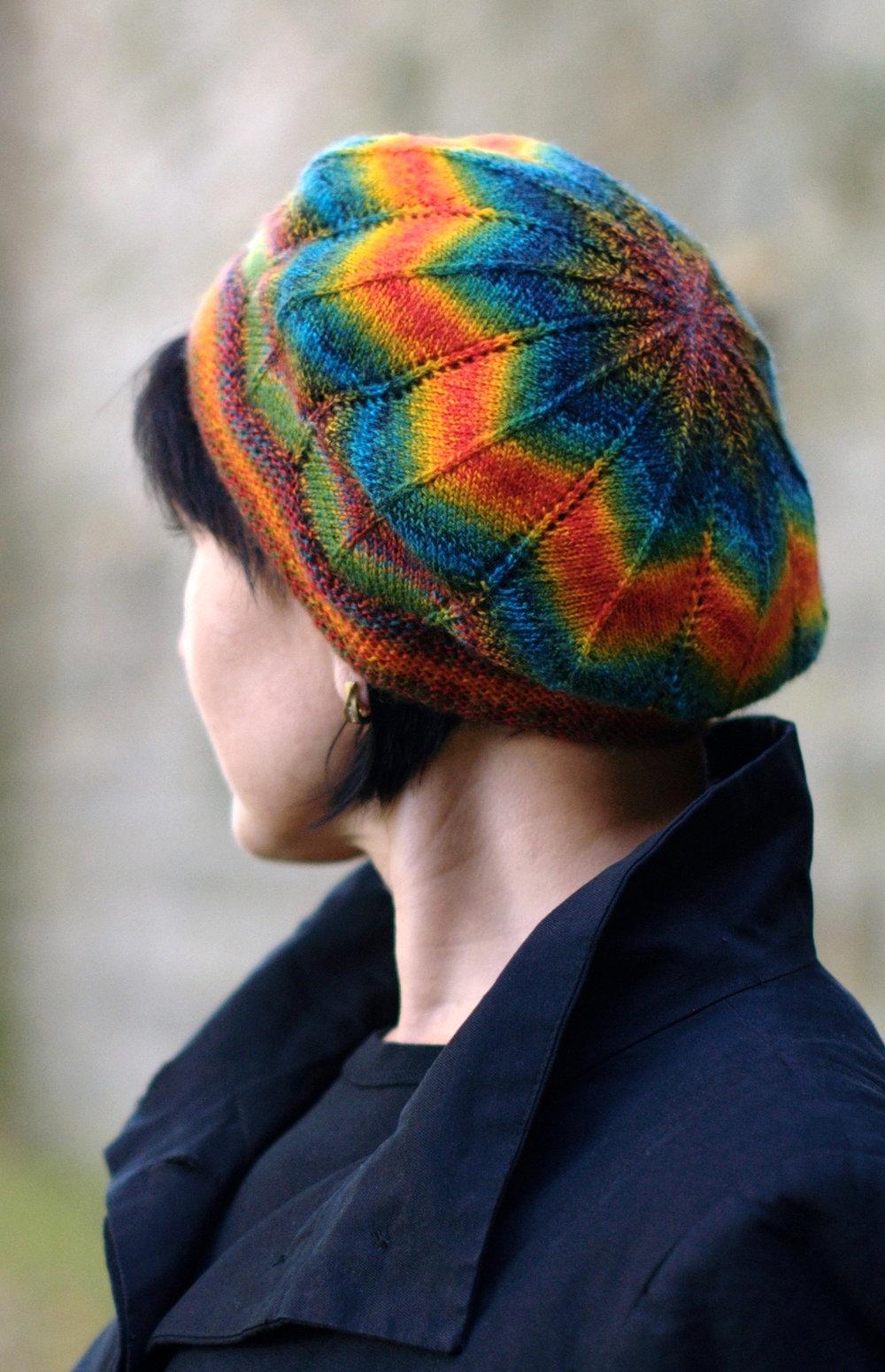 Symetrie lace chevron beret knitting pattern