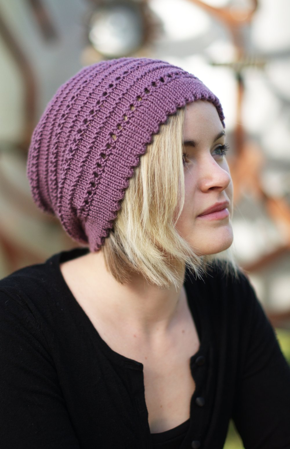 Tebe Slouch lace slouchy Hat knitting pattern