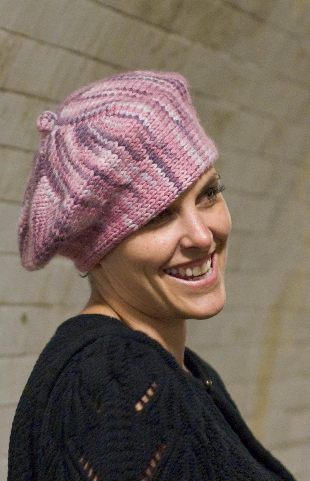 Xandy Pi sideways knit beret pattern
