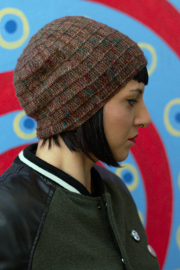 Circled 4 sideways knit slipped stitch slouchy Hat knitting pattern