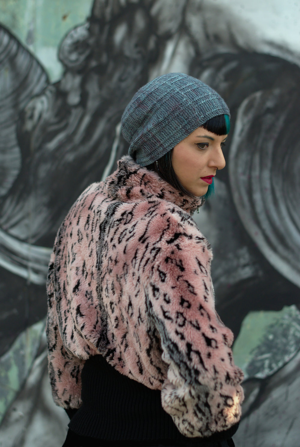 Circled 1 - sideways knit slouchy Hat featuring an offset arc design
