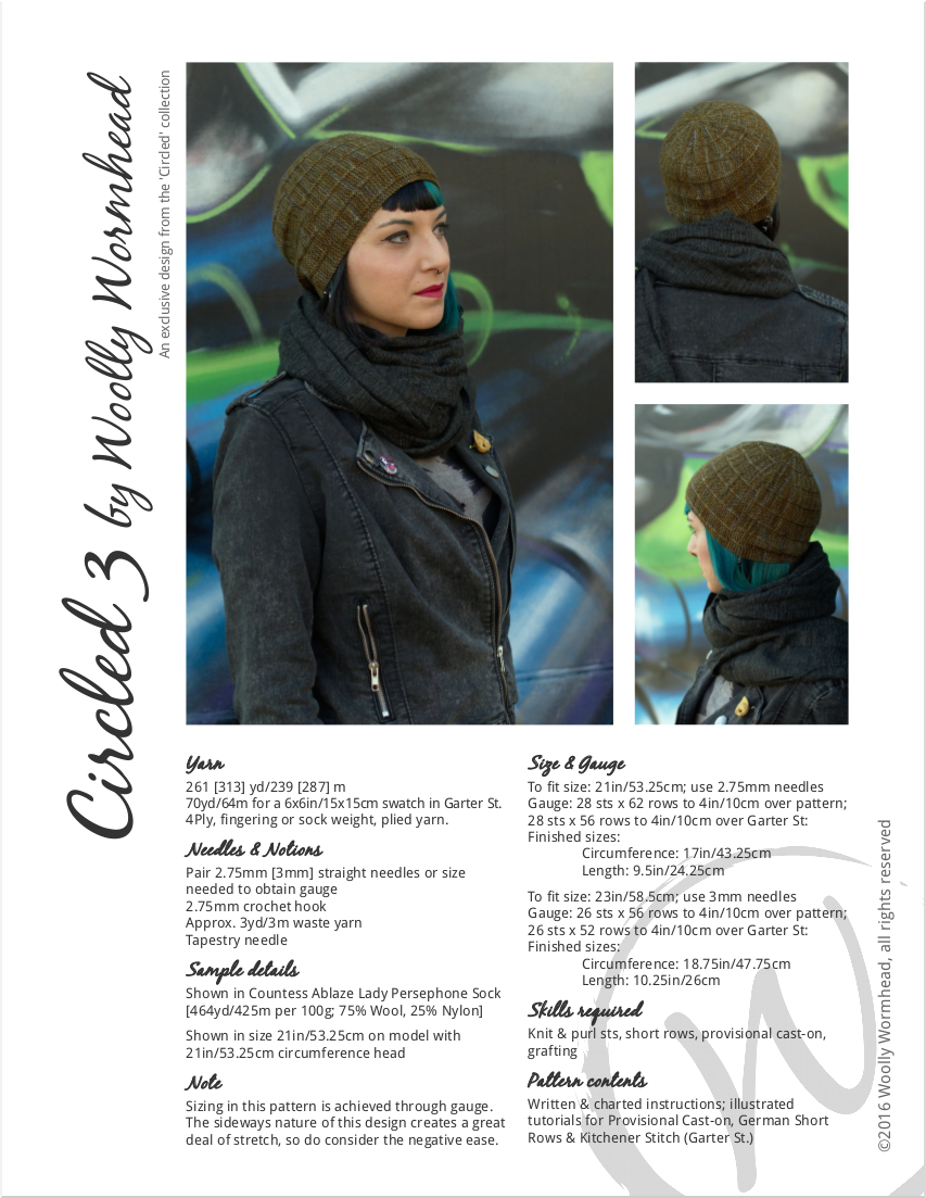 Circled 3 sideways knit slipped stitch slouchy Hat knitting pattern