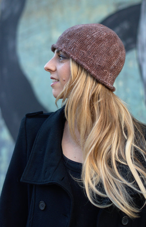 Bella sideways knit brimmed cloche