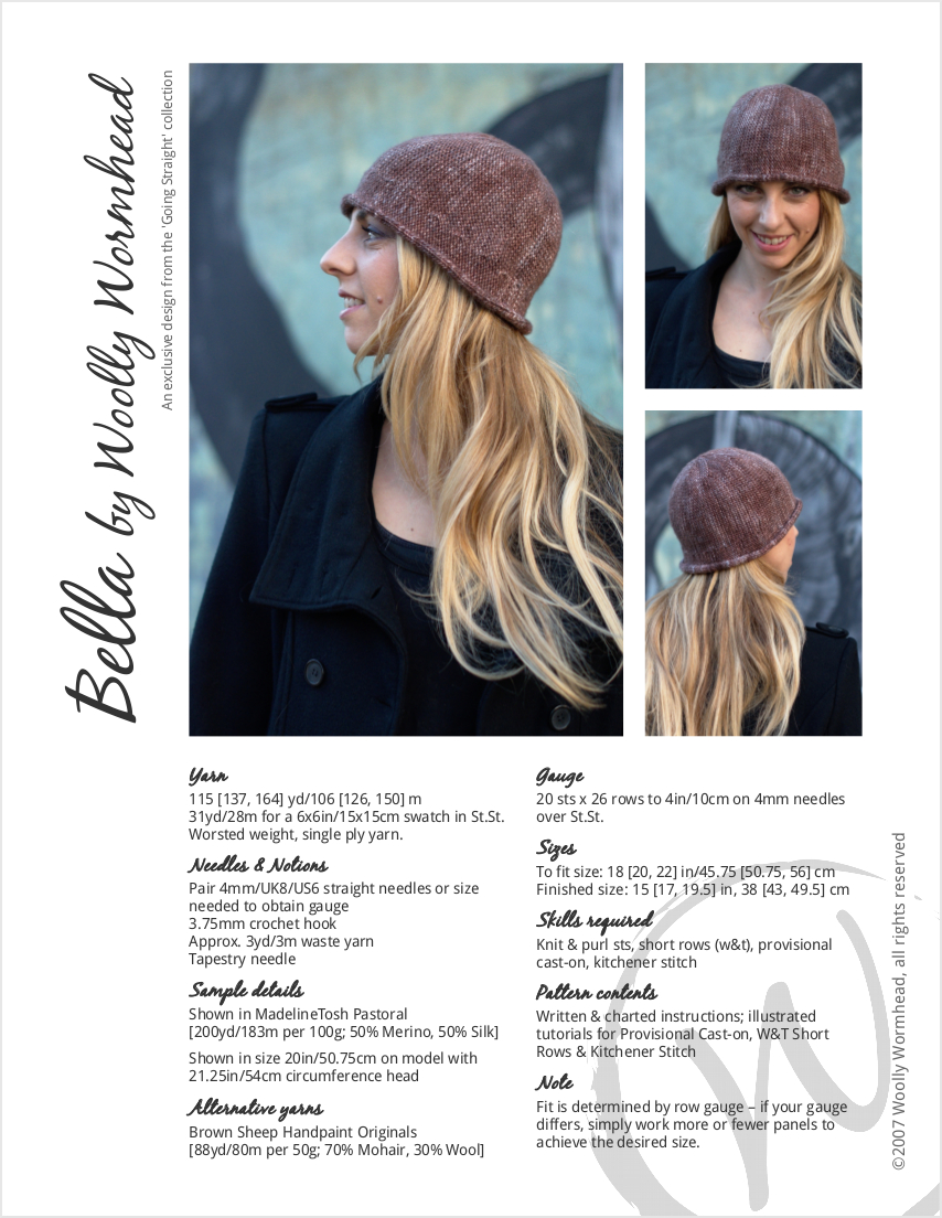 Bella sideways knit brimmed cloche hand knitting pattern