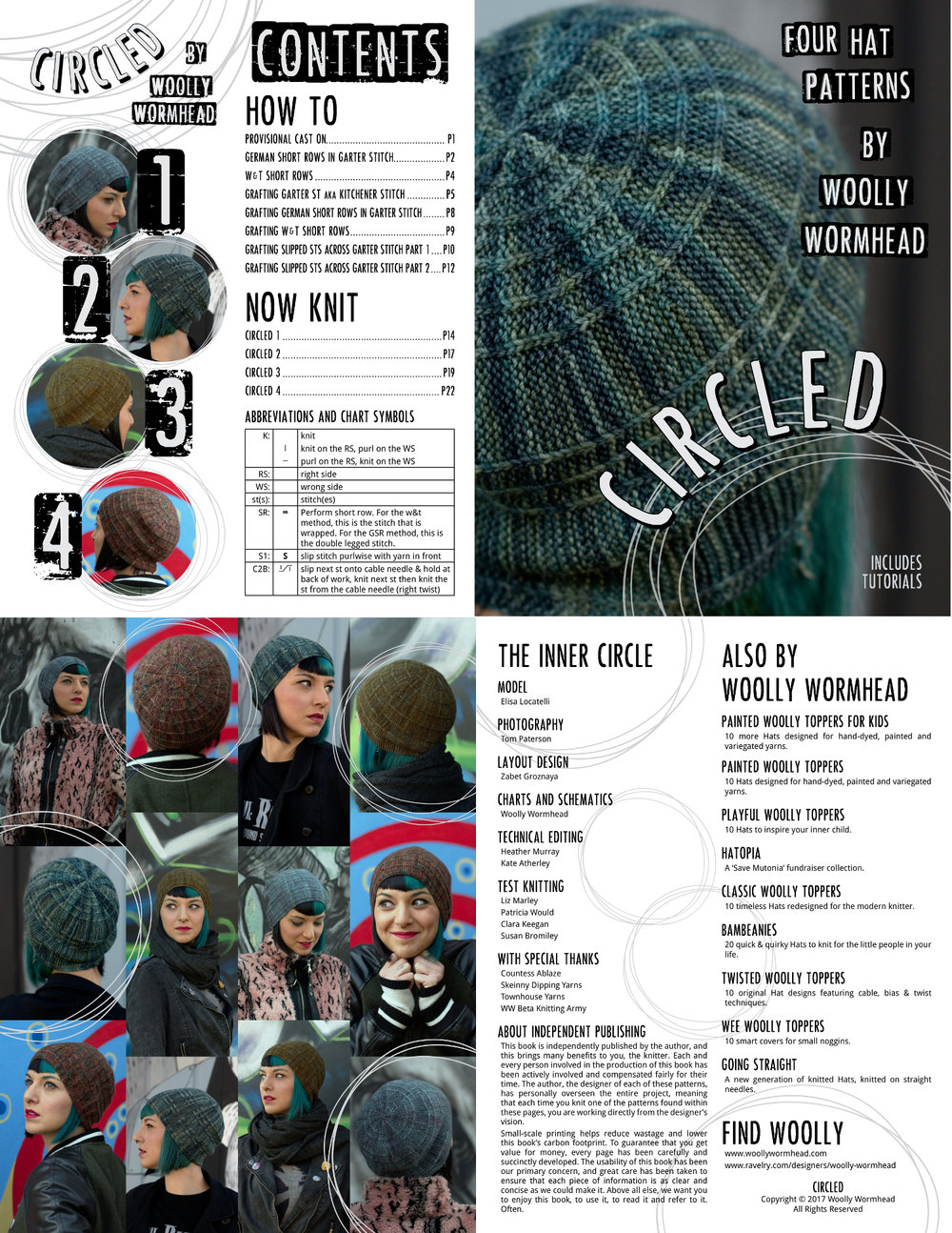Circled collection of 4 hand knitted Hat designs plus technique manual