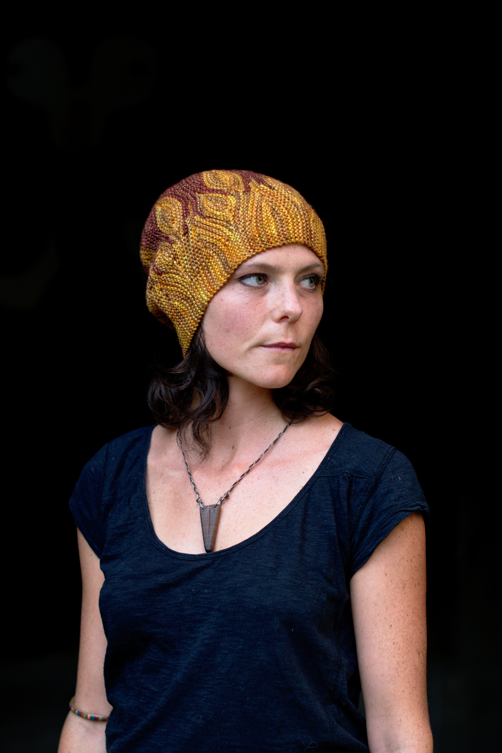 Azula sideways knit short row colourwork hand knitted Hat pattern