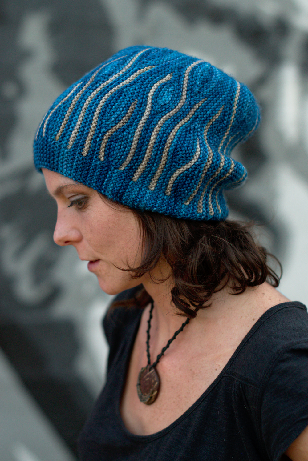 Katara sideways knit short row colourwork hand knitted Hat pattern