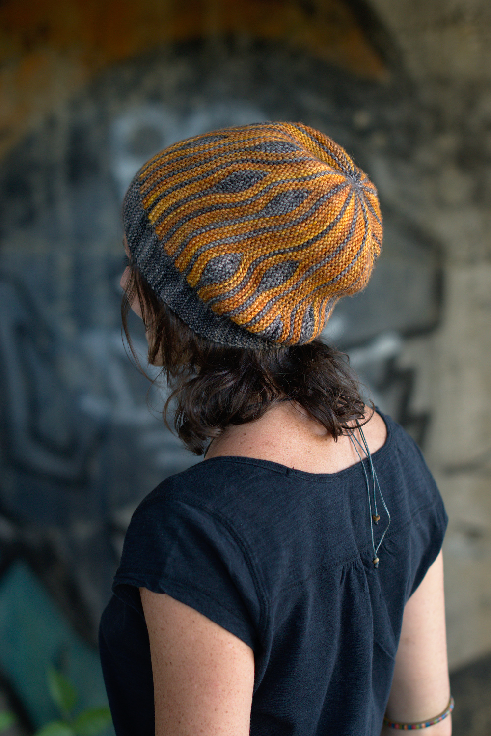 Korra sideways knit short row colourwork hand knitted Hat pattern