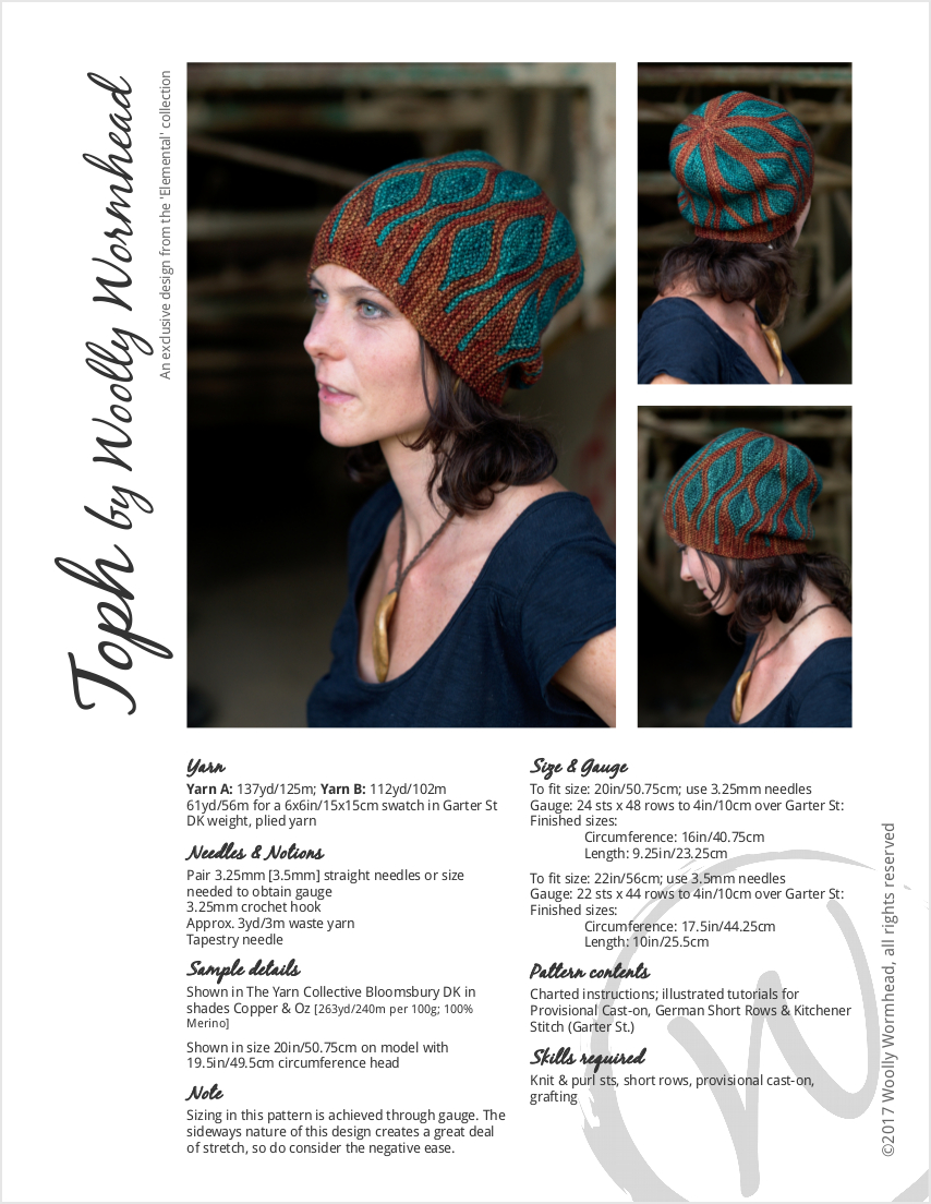 Toph sideways knit short row colourwork hand knitted Hat pattern