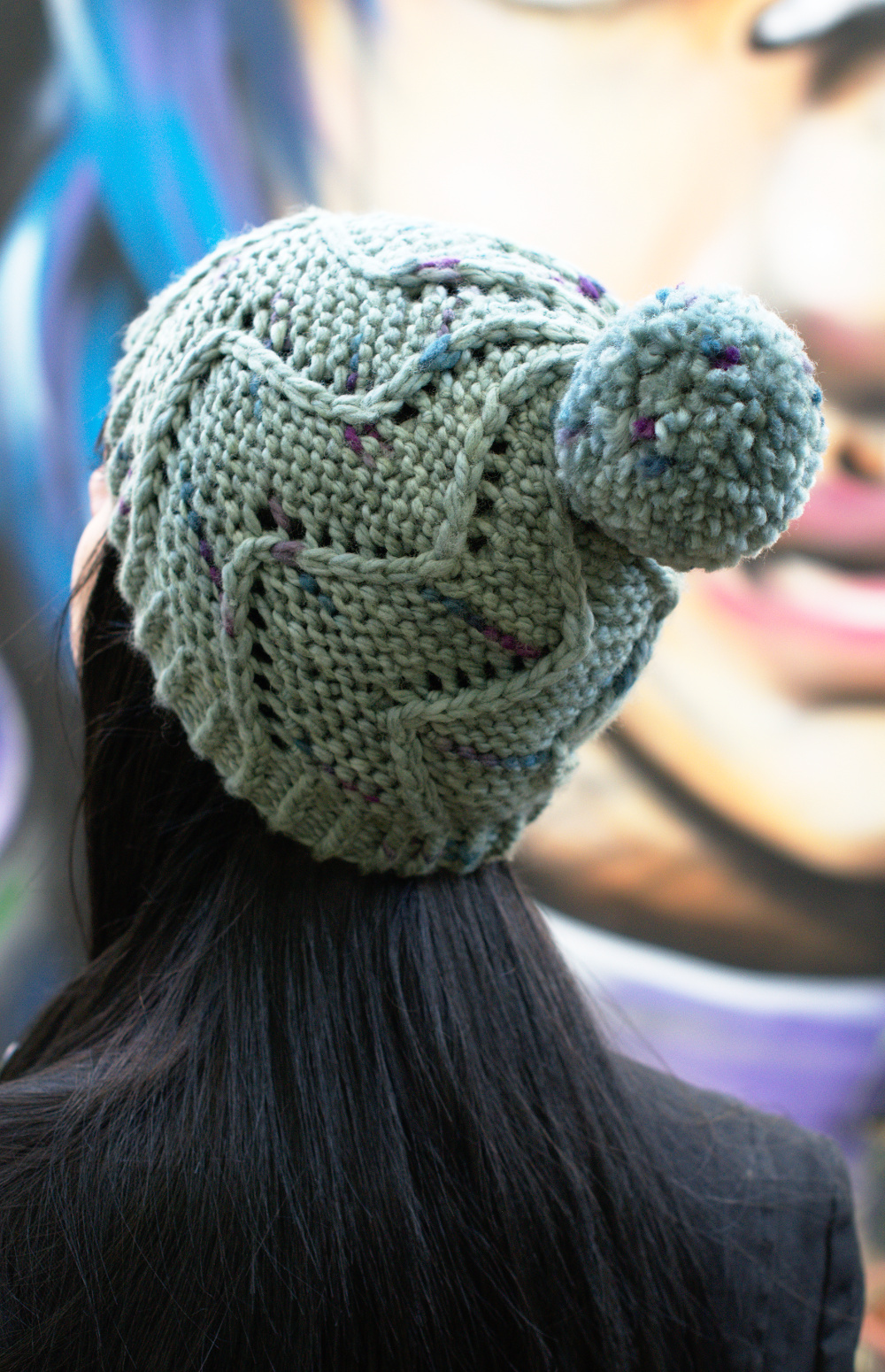 Cirro chunky spiral bobble Hat knitting pattern for Craftsy Cloudborn Fibers yarn