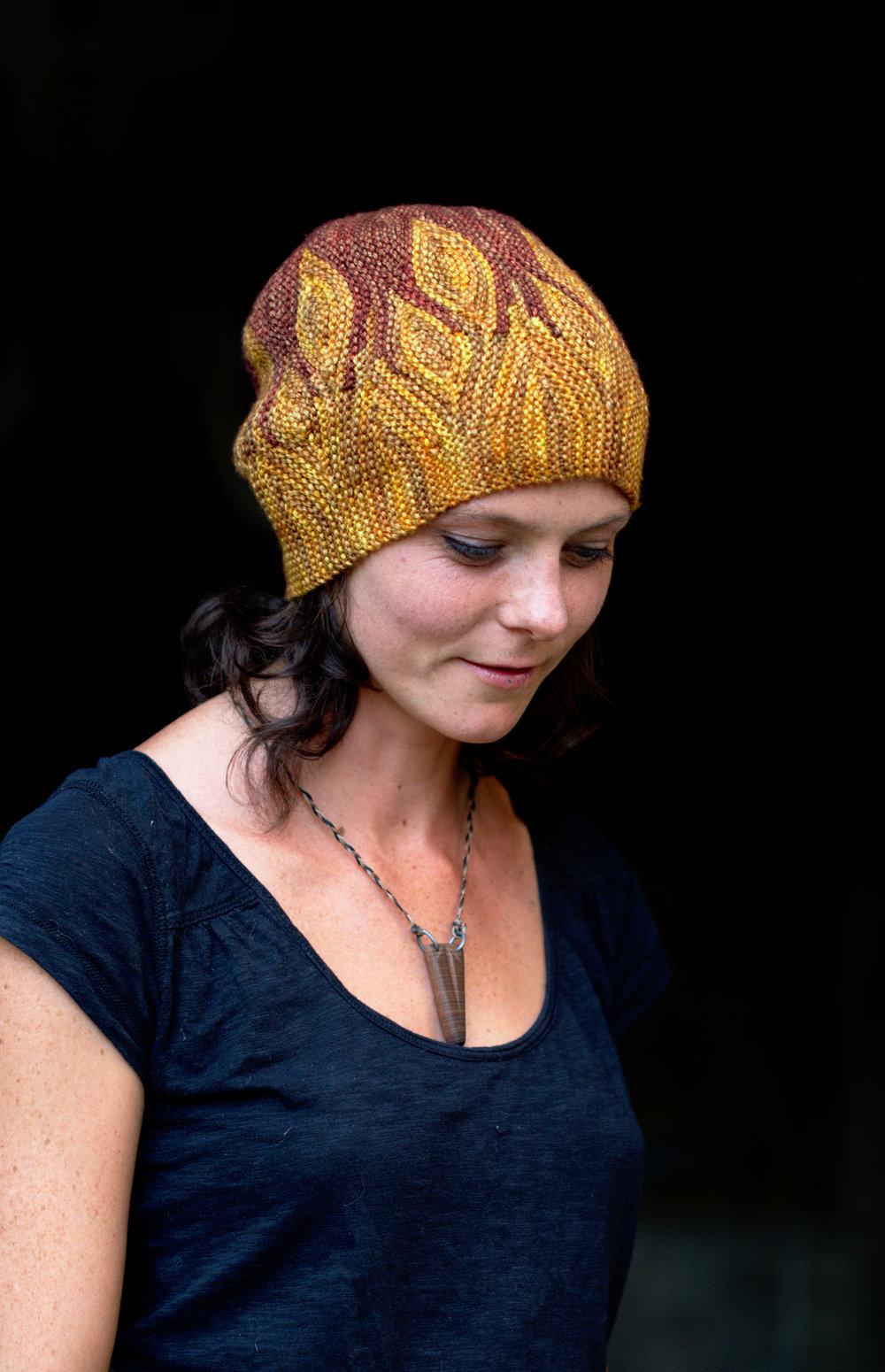 Azula sideways knit short row colourwork Hat knitting pattern