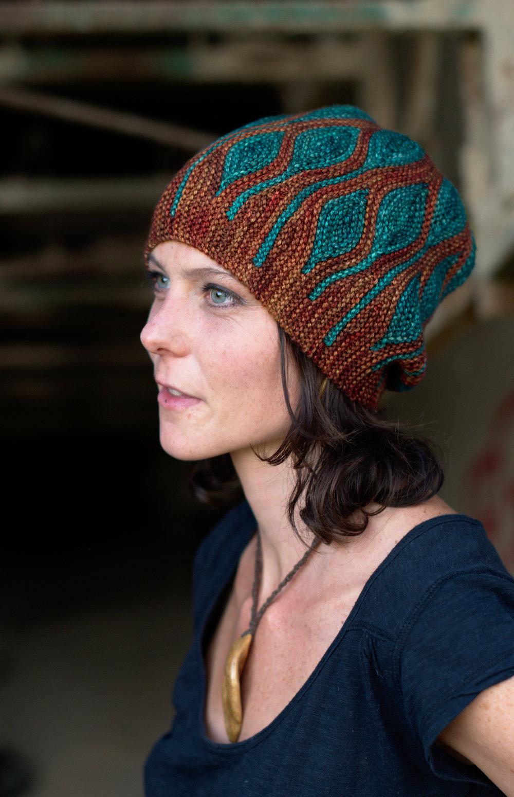 Toph sideways knit short row colourwork Hat knitting pattern