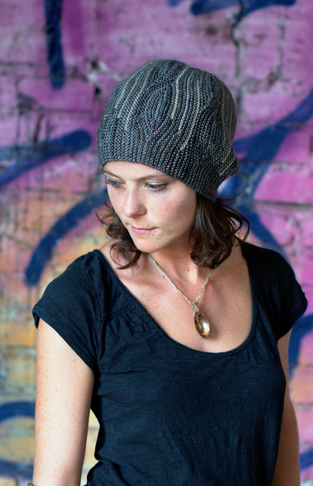 Opal sideways knit short row colourwork Hat knitting pattern