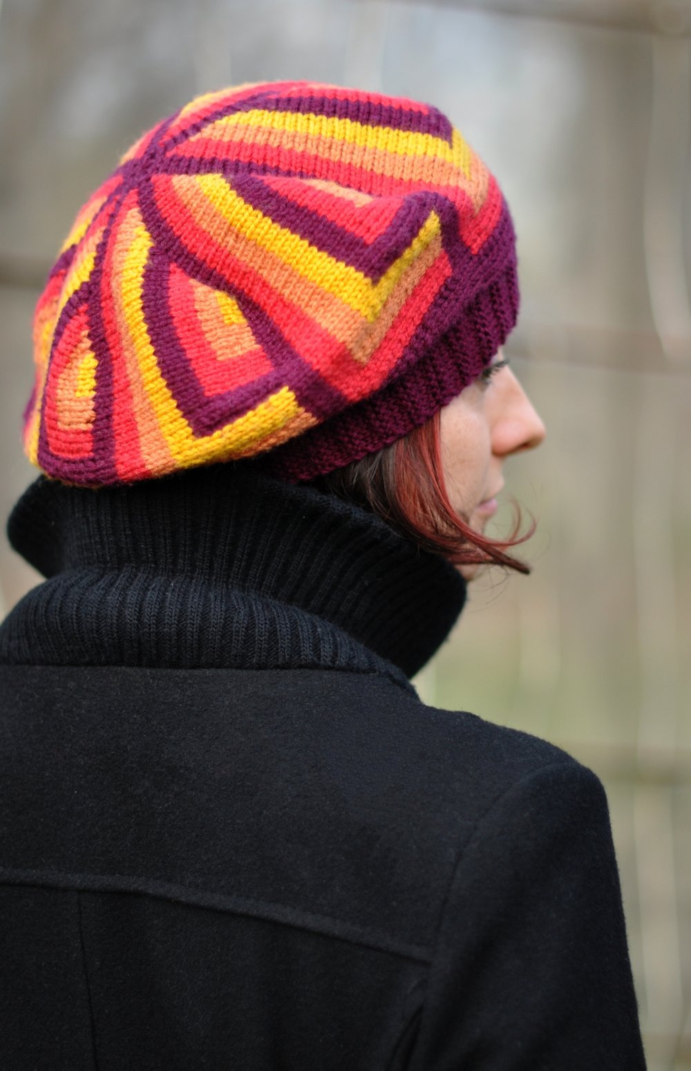 knitting pattern for hand knit sideways Hat with unique intarsia pattern