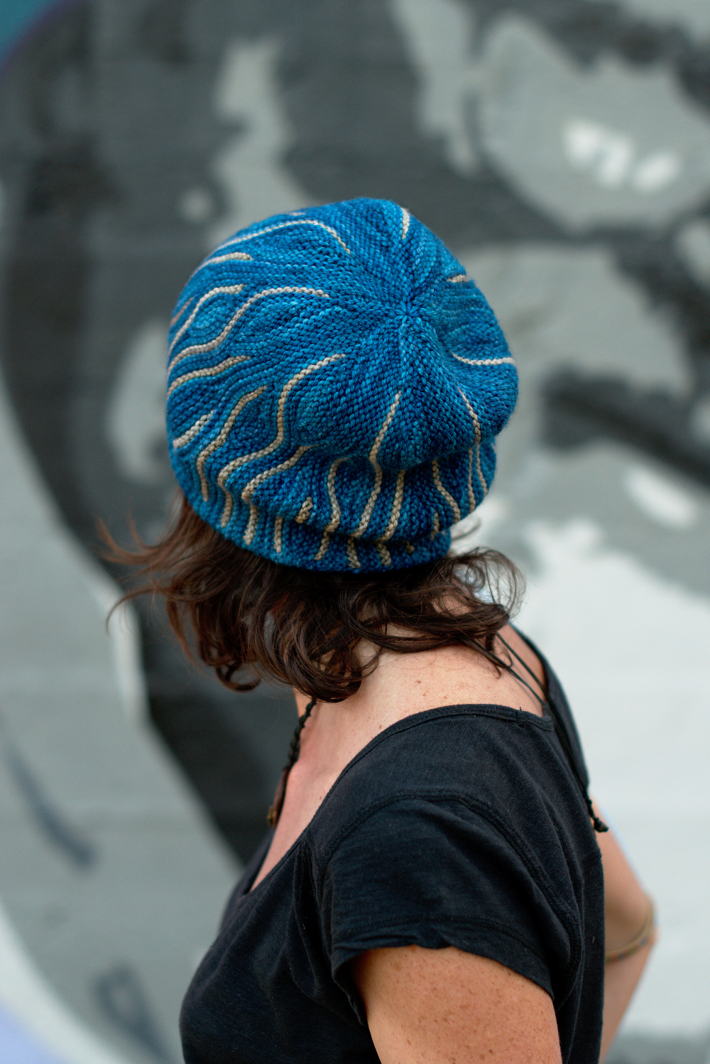 Katara sideways knit short row colourwork hat knitting pattern