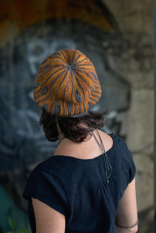 dcfe5fab616 Korra sideways knit short row colourwork hat knitting pattern