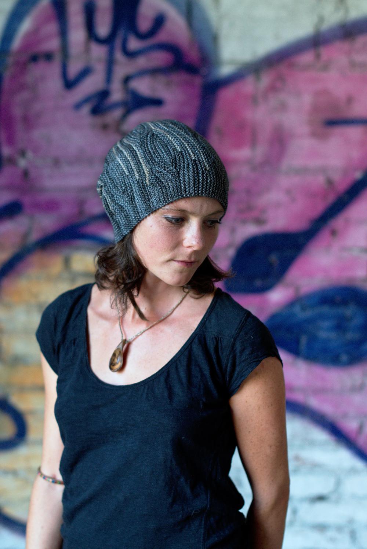 Opal sideways knit short row colourwork hat knitting pattern