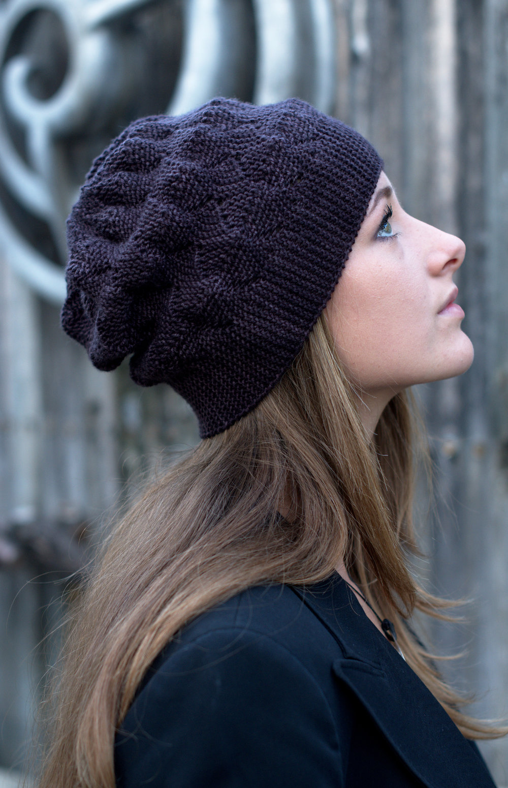 Sagitta sideways knit short row slouchy Hat knitting pattern