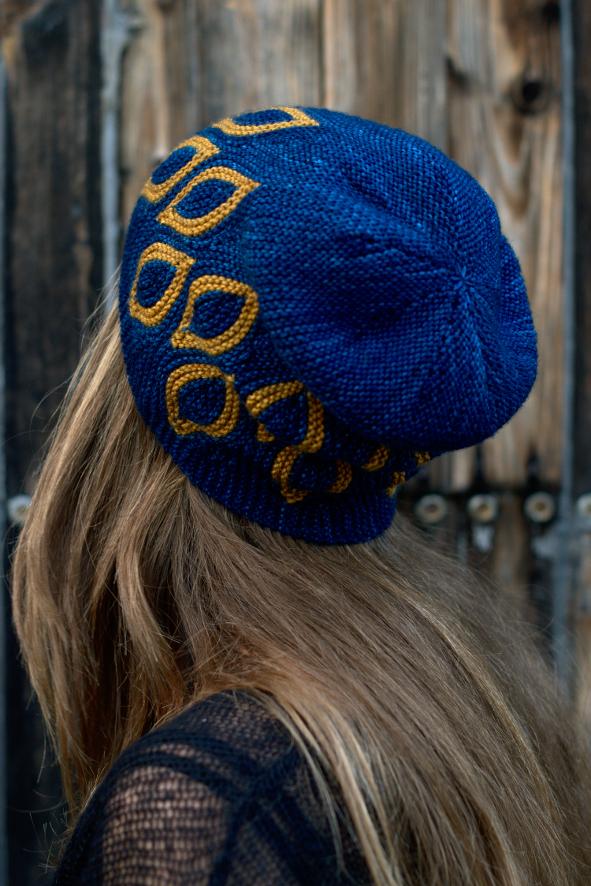 Scourie sideways knit short row colourwork Hat knitting pattern