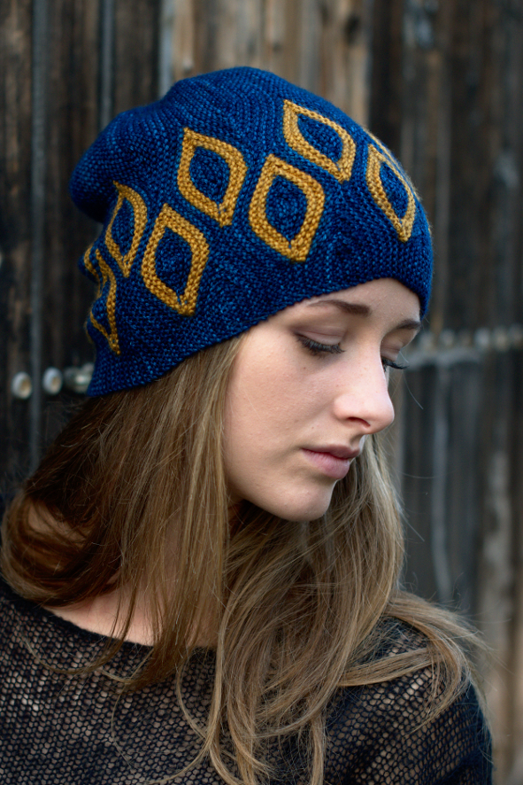 Scourie sideways knit short row colourwork Hat knitting pattern