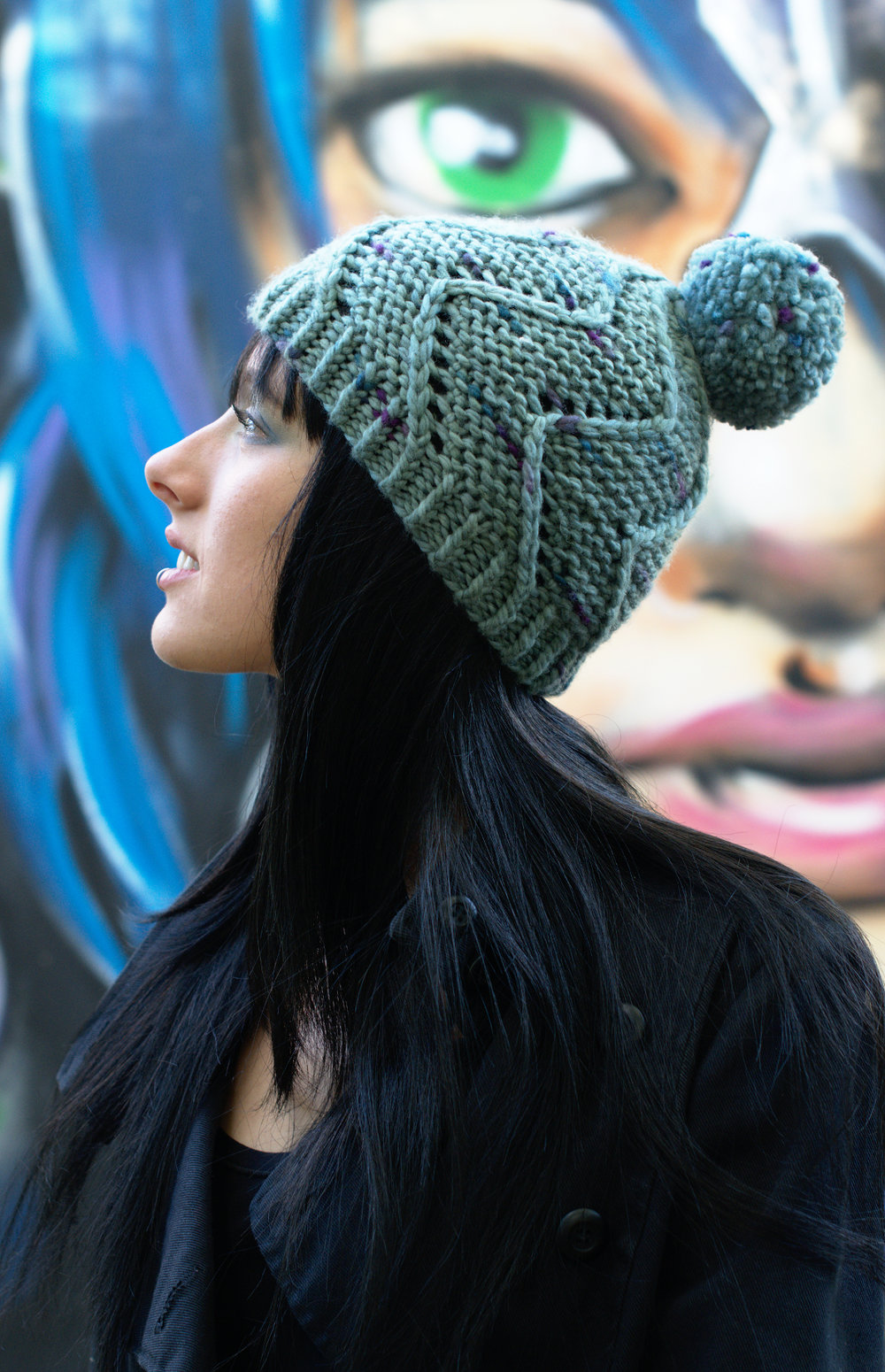 Cirro hand knit Hat pattern for a beanie with pompom in bulky yarn