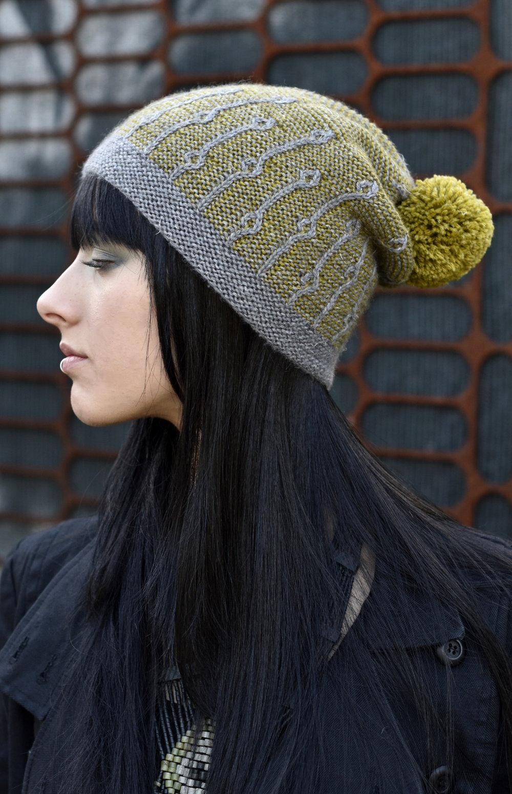 Joyce slouchy slipped stitch Hat hand knitting pattern