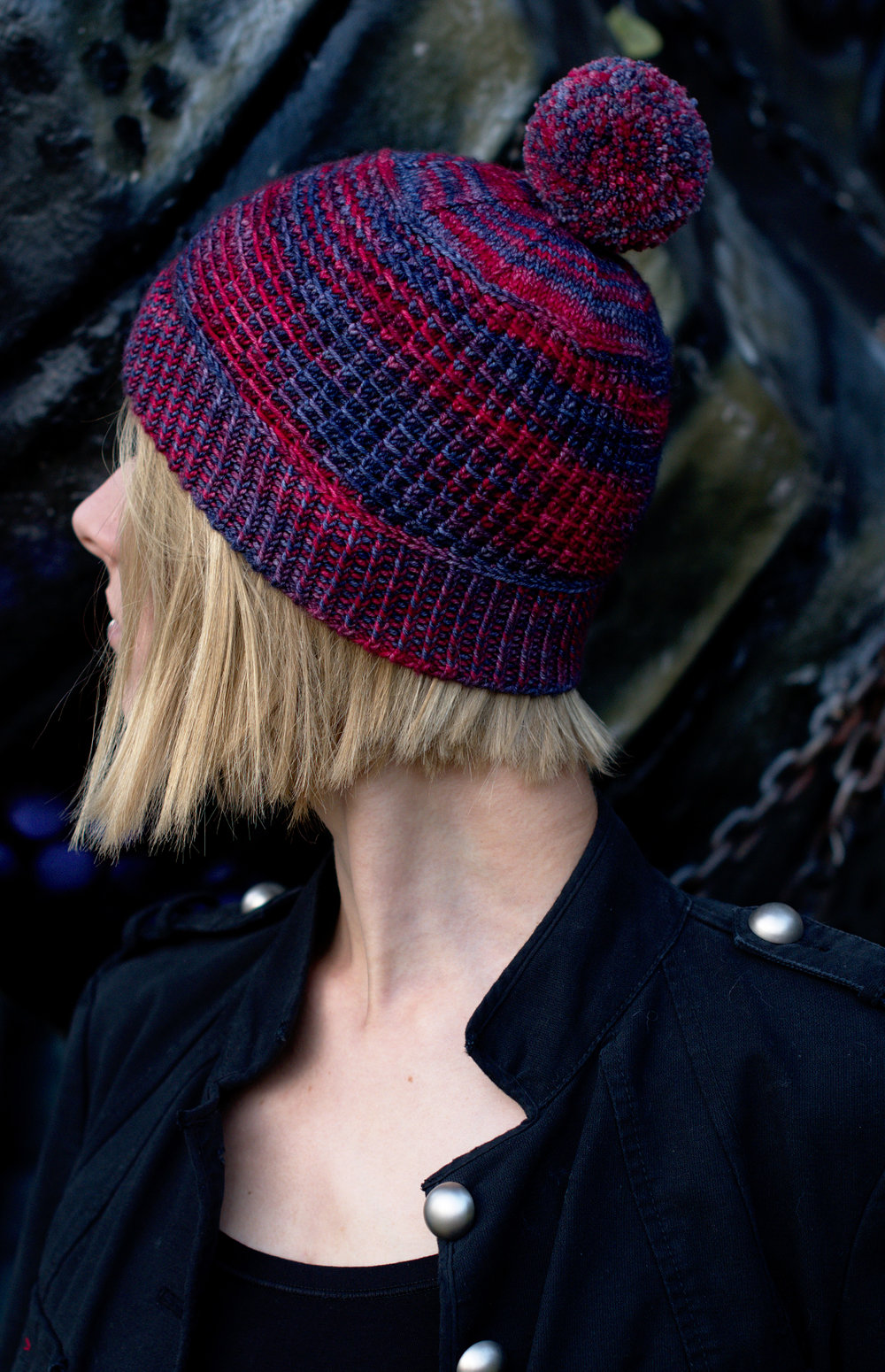 Shuttered textured beanie Hat hand knitting pattern