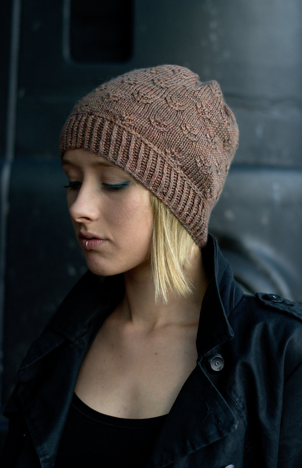 Ponderosa hand knit slouch beanie hat pattern for DK yarn