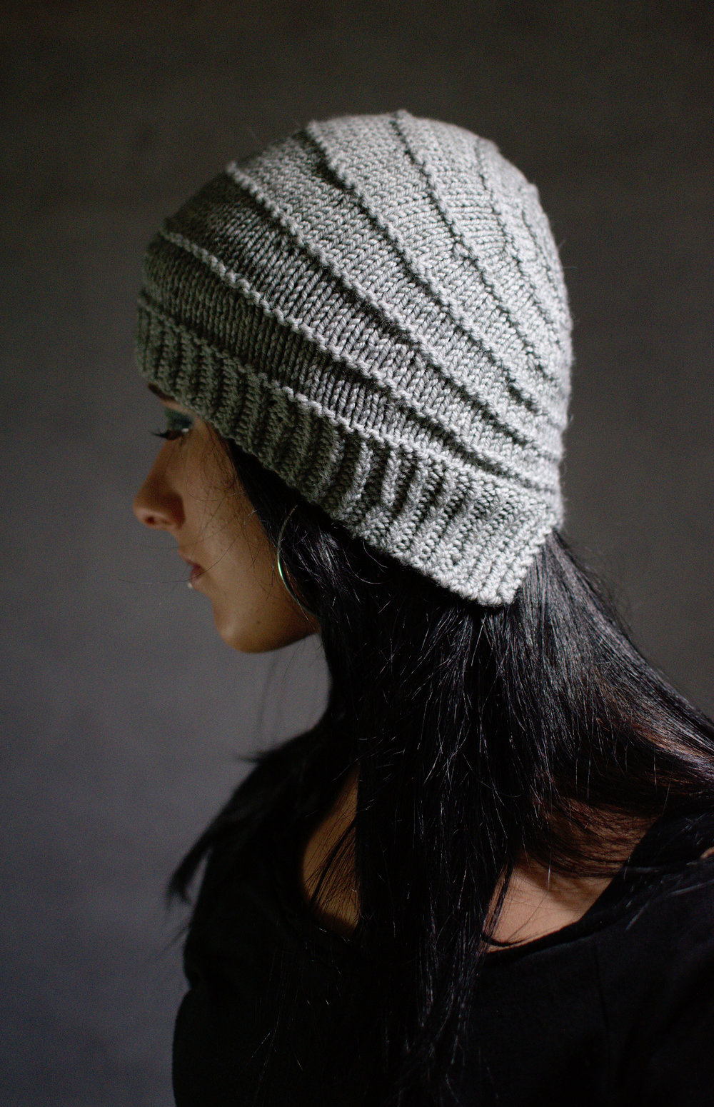 Wrapped hand knitting pattern for cloche style Hat