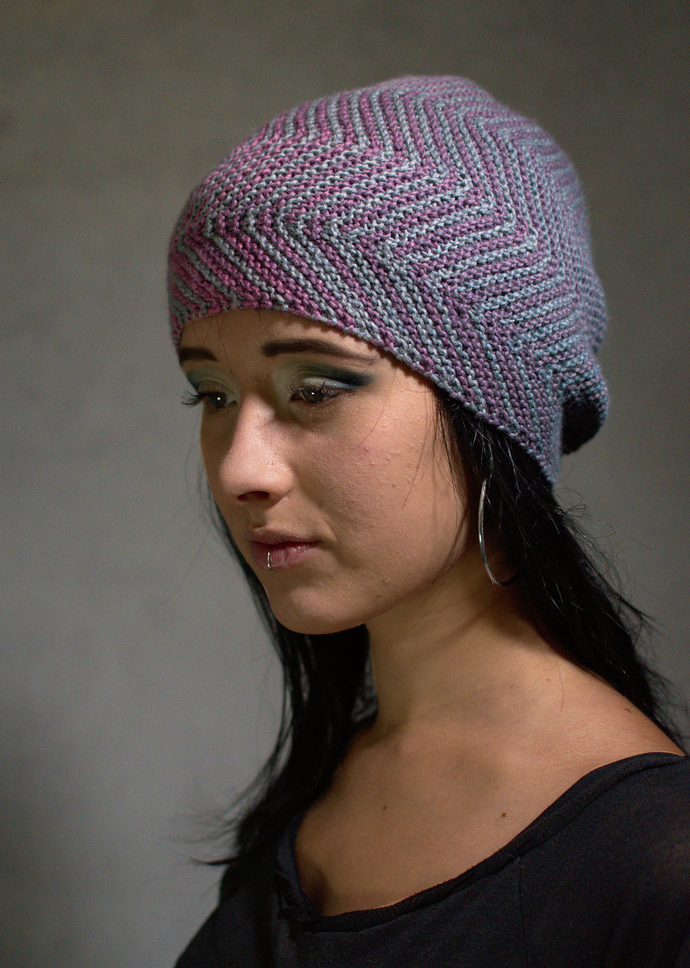 Juxta sideways knit Hat knitting pattern for gradient yarns