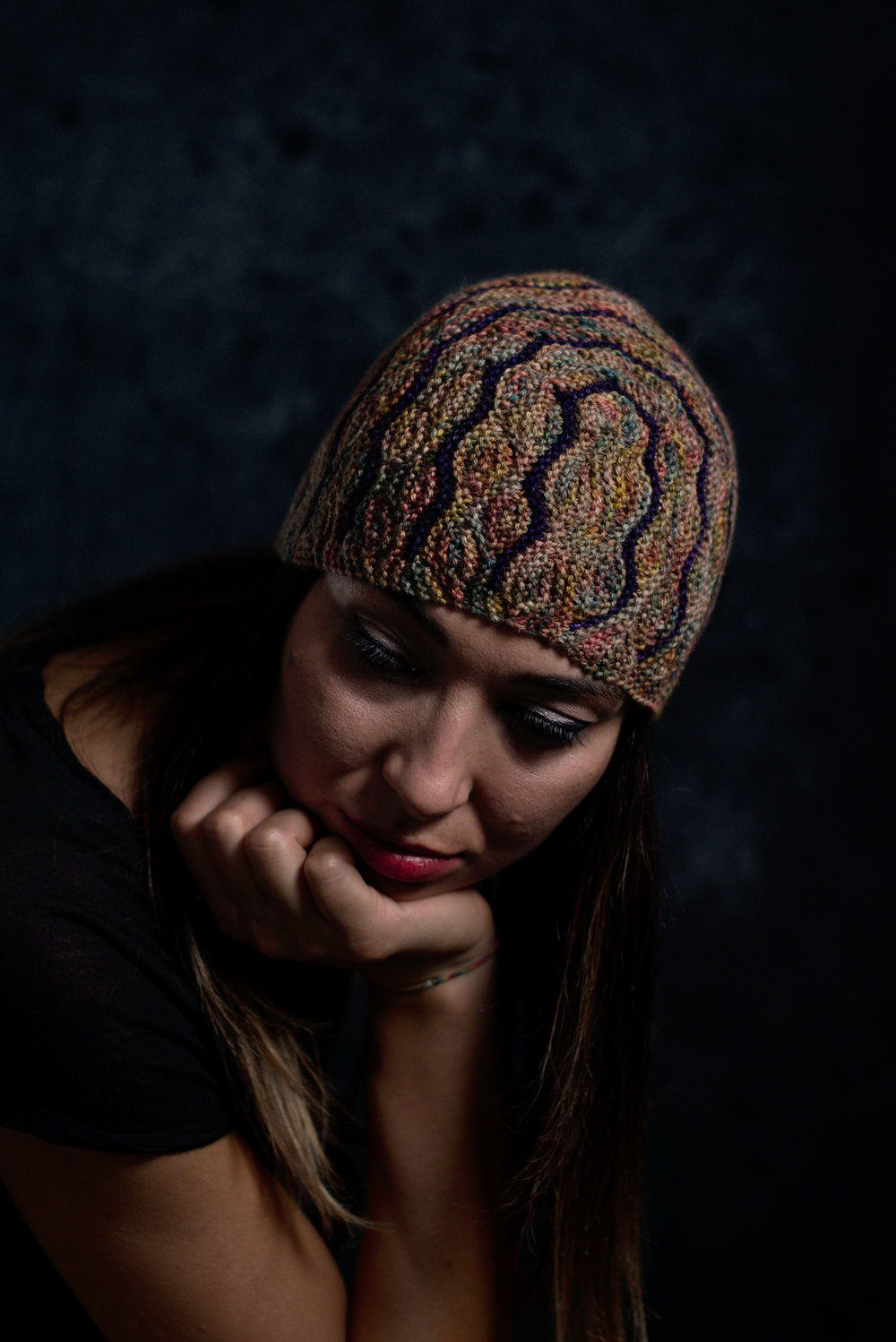 Undulous sideways knit short row colourwork hat knitting pattern