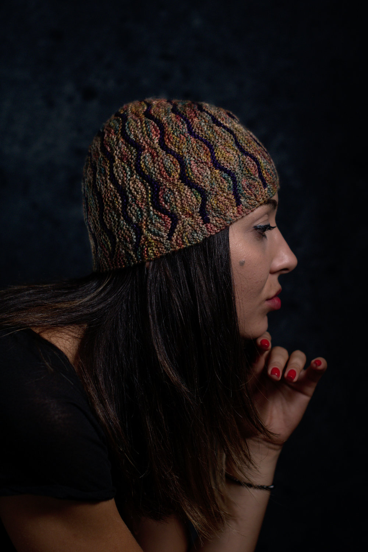 Undulous sideways knit short row striped hat knitting pattern