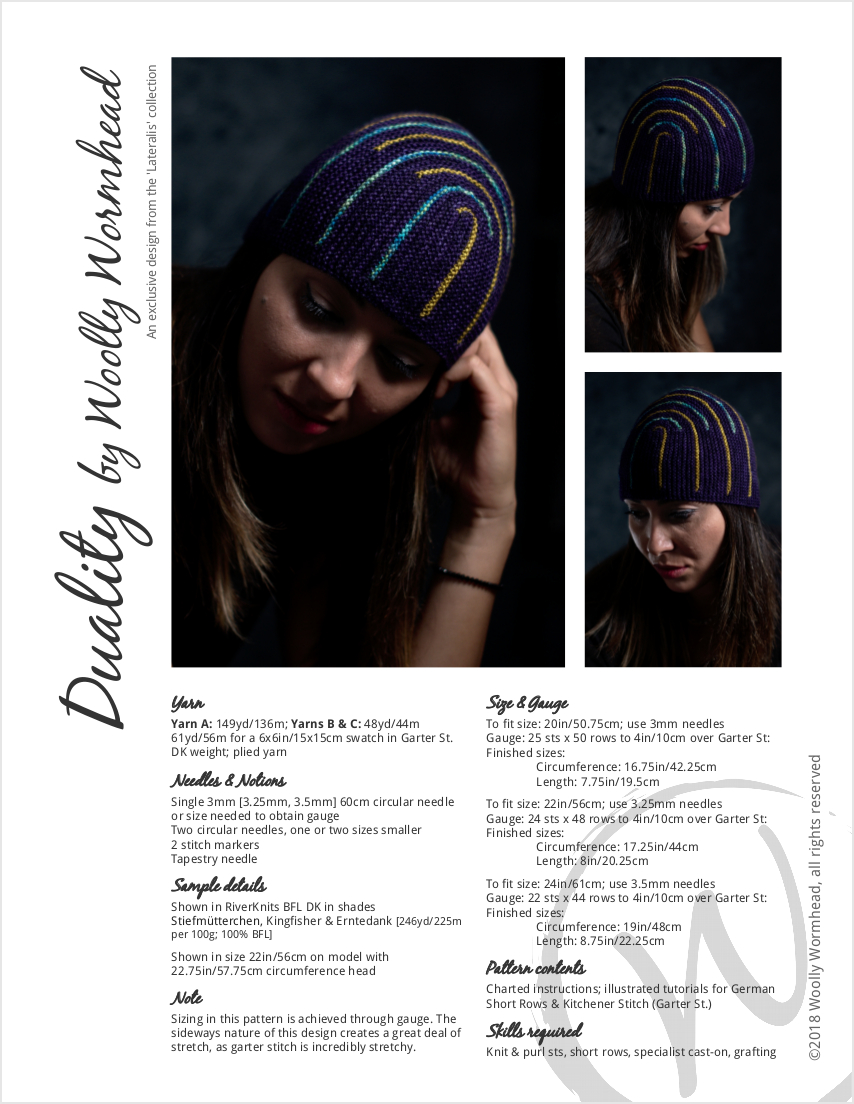 Duality sideways knit short row striped hat knitting pattern