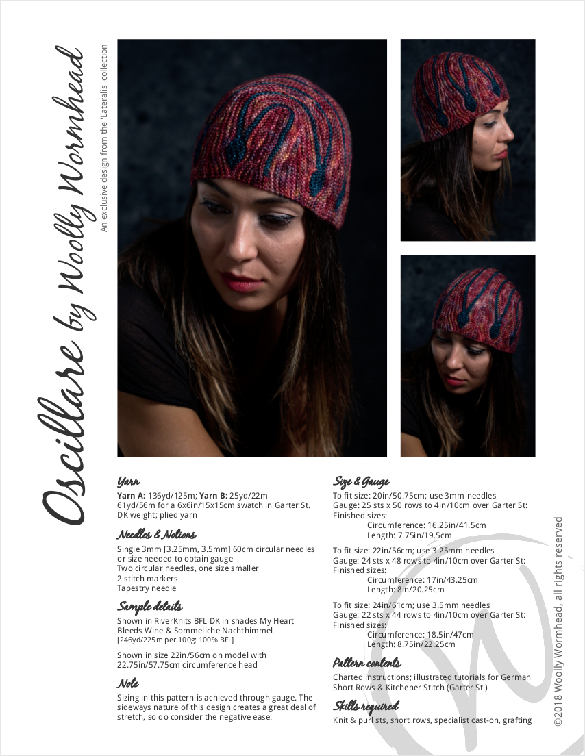 Oscillare sideways knit short row hat knitting pattern